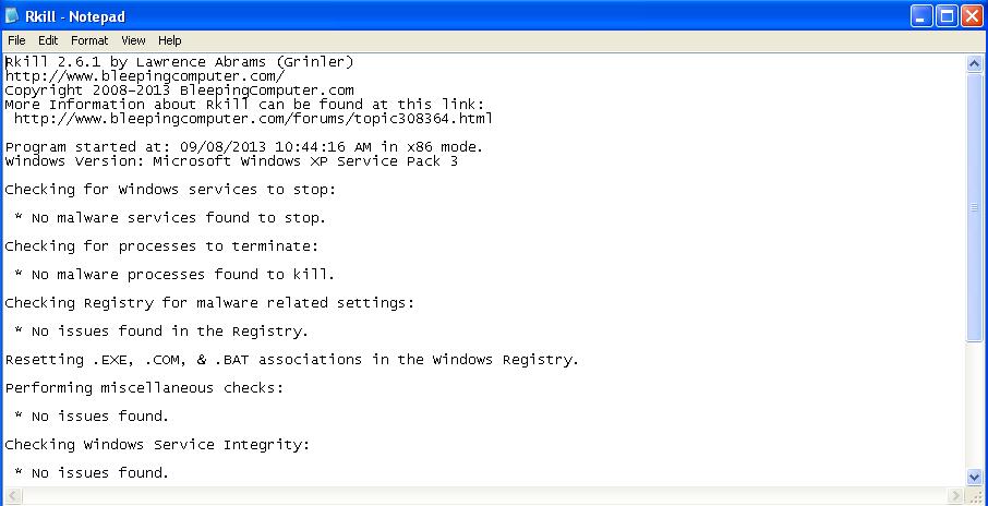 rkill log - menghilangkan virus malware